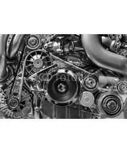 antonmatveev, Car engine, concept of modern vehicle motor with metal, chrome, plastic parts, heavy industry, monochrome