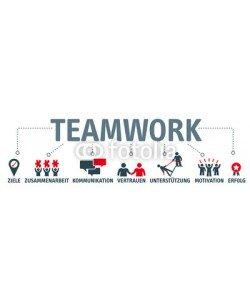 Trueffelpix, Banner Teamwork Konzept - Schlagworte und Piktogramme