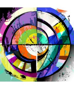 Kirsten Hinte, abstract circle background, retro/vintage style with paint strokes and splashes