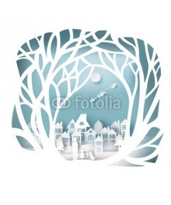 artdee2554, paper art landscape of Christmas and happy new year with tree and house design. vector illustration