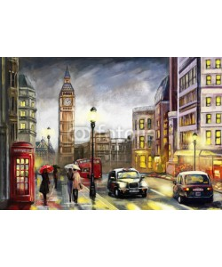 lisima, oil painting on canvas, street view of london. Artwork. Big ben. couple and red umbrella, bus and road, telephone. Black car - taxi. England