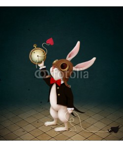 annamei, Conceptual illustration with  character from  fairy tale Wonderland with  White Rabbit and  destruction of  Clock.