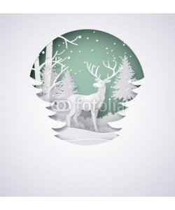 kengmerry, Deer in forest with snow in the winter season and christmas.vector paper art style.