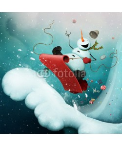 annamei, Conceptual illustration for greeting card for Christmas or New Year with  Crazy Snowman, racing with  snowy mountain on  sled with gifts.