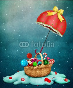 annamei, Fantasy Holiday greeting card for Christmas with Red umbrella with  gift basket