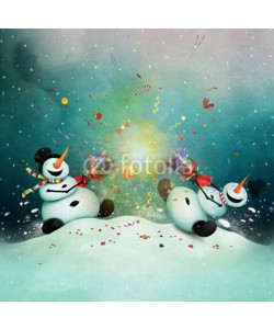 annamei, Winter holiday greeting card with two cheerful snowman with  Christmas cracker.