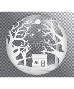 artdee2554, Xmas and happy new year glass ball on transparent background, paper art landscape with tree and house design. vector illustration
