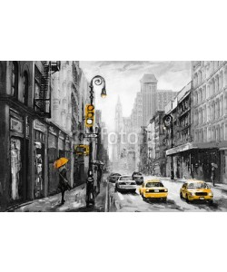 lisima, oil painting on canvas, street view of New York, man and woman, yellow taxi,  modern Artwork,  American city, illustration New York