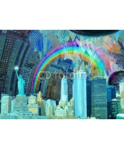 rolffimages, NYC Landscape. Manhattan and Liberty Statue. Oil painting. 3D rendering