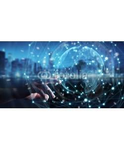 sdecoret, Businessman using planet earth network sphere 3D rendering
