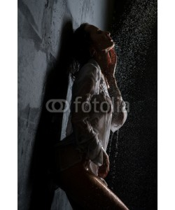 Wisky, Sexy girl in wet shirt having shower profile shot