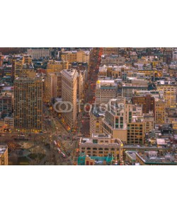 f11photo, Aerial view of Manhattan skyline at sunset, New York City
