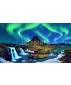tawatchai1990, Northern Light, Aurora borealis at Kirkjufell in Iceland. Kirkjufell mountains in winter.