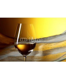 Igor Normann, Glass of white wine on a yellow background.