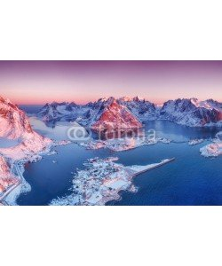 Biletskiy Evgeniy, Aerial view at the Lofoten islands, Norway. Mountains and sea during sunset. Natural landscape from air at the drone. Norway at the winter time