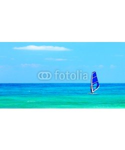 Anna Omelchenko, Panoramic beach landscape with windsurfer playing
