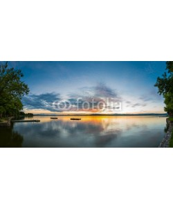 Andreas Schindl, panorama of lake wallersee at sunset with trees and clouds
