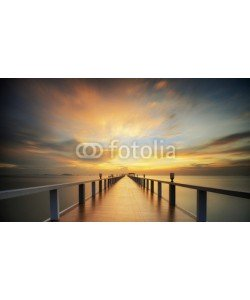 anekoho, Wooded bridge in the port between sunrise.