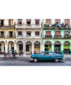 Frankix, Street scene with vintage car in Havana, Cuba.