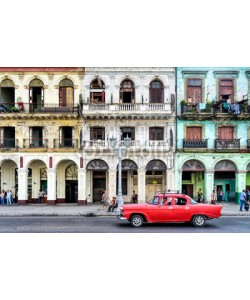 Frankix, Street scene with vintage car in Havana, Cuba.