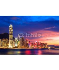 lkunl, Hong Kong skyline at night, China