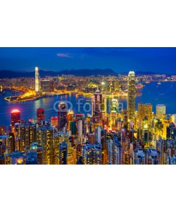 lkunl, Hong Kong skyline at night, China