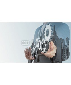 everythingpossible, Double exposure of businessman hand draws gear to success concep