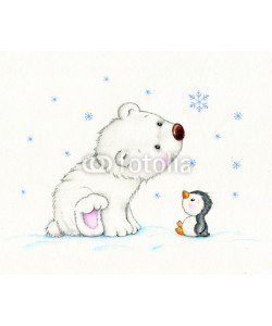 ciumac, Cute polar bear and penguin