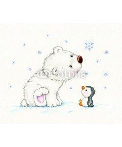 ciumac, Cute polar bear and penguin