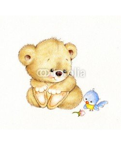 ciumac, Cute Teddy bear and bird