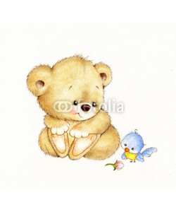 ciumac, Cute Teddy bear and bird