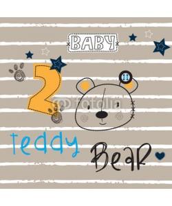 yoliana, teddy bear embroidery on striped background vector illustration