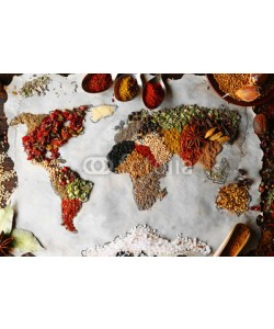Africa Studio, Map of world made from different kinds of spices, close-up