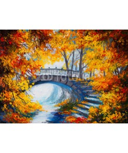 max5799, Oil Painting - autumn forest with a road and bridge over the roa