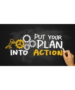 cacaroot, put your plan into action handwritten on blackboard