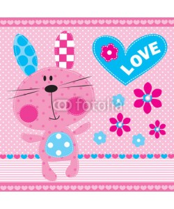 yoliana, cute bunny girl with flowers vector illustration