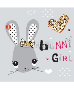 yoliana, childish pattern with bunny girl vector illustration