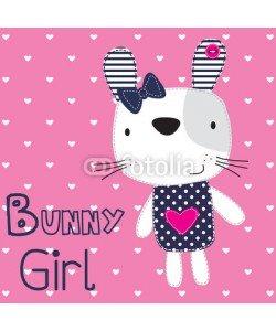 yoliana, cute bunny girl with heart vector illustration