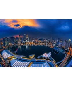 anekoho, Singapore city at night, top view from the Marina bay Sand