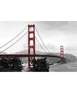 diak, Golden Gate Bridge, red pop on a black and white background