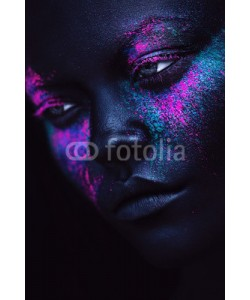 alexbutscom, portrait of woman in black paint and neon powder