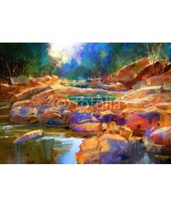 grandfailure, beautiful fall river lines with colorful stones in autumn forest,digital painting