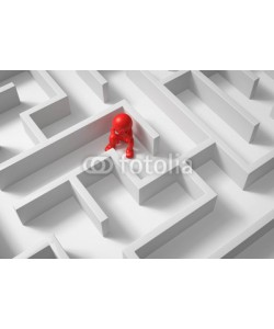 fotomek, 3d Männchen von oben verzweifelt im Labyrinth