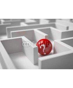 fotomek, 3d Kugel mit Fragezeichen im Labyrinth