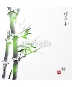 elinacious, Card with green bamboo in sumi-e style. Contains hieroglyphs luck, happiness (stamps), well-being, eternity, harmony