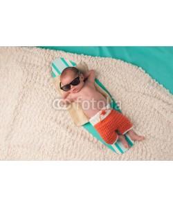 katrinaelena, Newborn Baby Boy Sleeping on a Surfboard