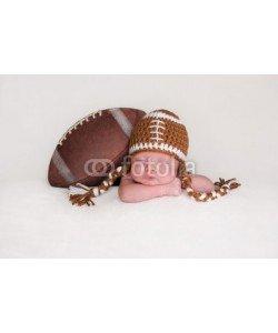 katrinaelena, Newborn Baby Boy Wearing a Crocheted Football Hat