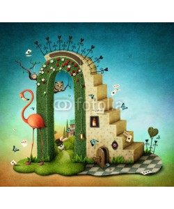 annamei, Illustration or poster with  stairs and green arch with fabulous items