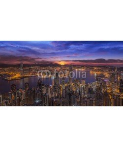 anekoho, Sunrise over Victoria Harbor as viewed atop Victoria Peak
