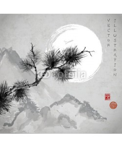elinacious, Pine tree branch, mountains and the Moon